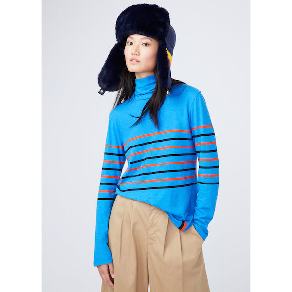 The Tissue Turtleneck - Royal/Poppy/Navy on model