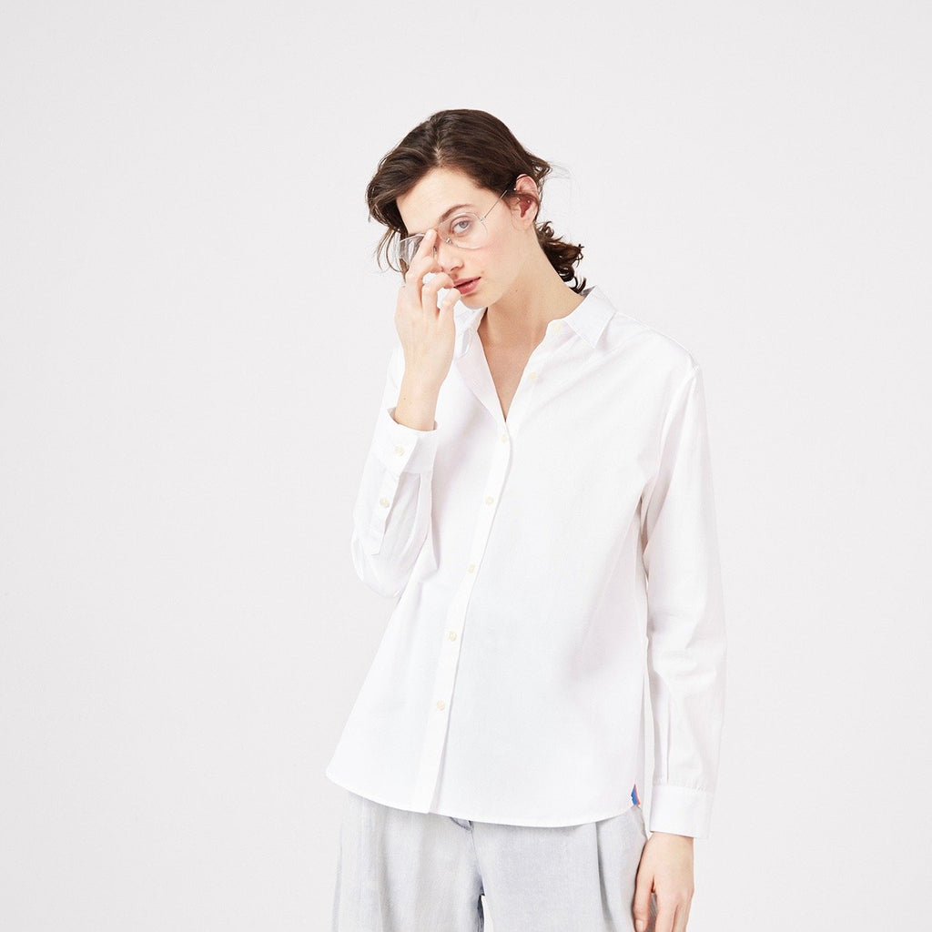 The Hutton Oversize Shirt - White on Model 1