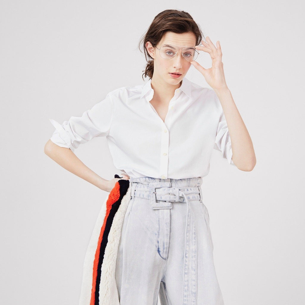 The Hutton Oversize Shirt - White on Model 2