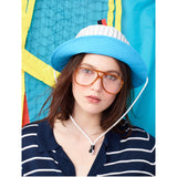 The Buck - Blue Flat, blue hat, metallic blue top, navy/poppy stripe band, shown on model