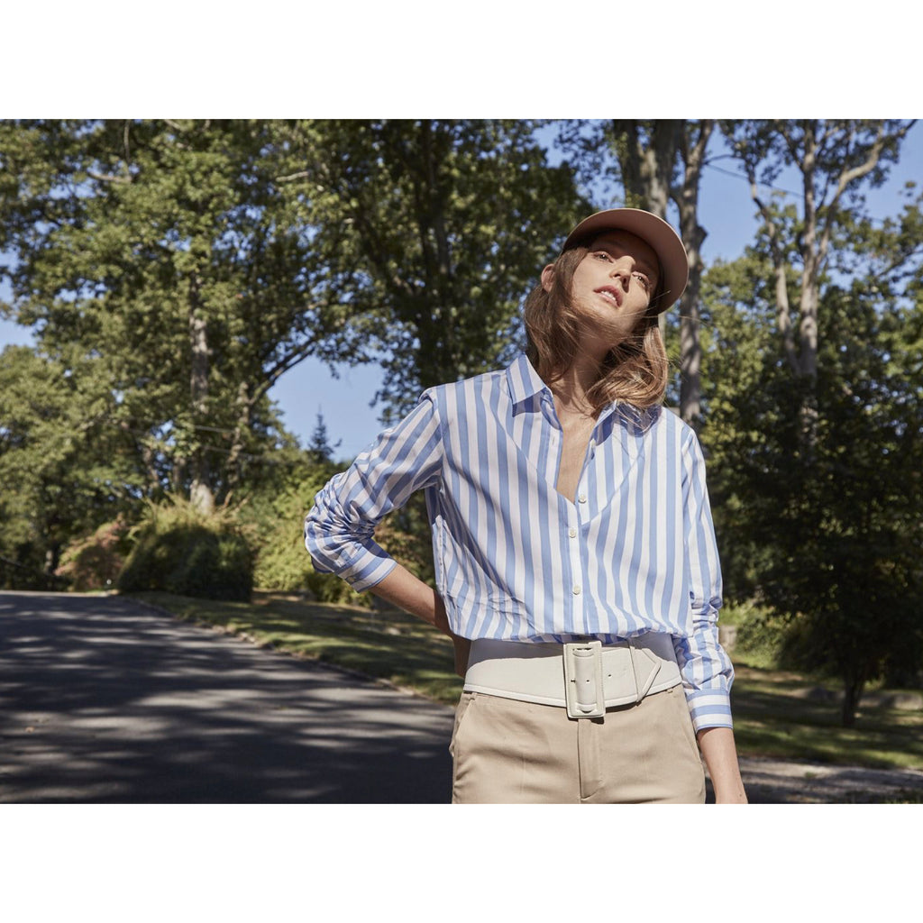 The Hutton Oversize Shirt - White/Sky Bold