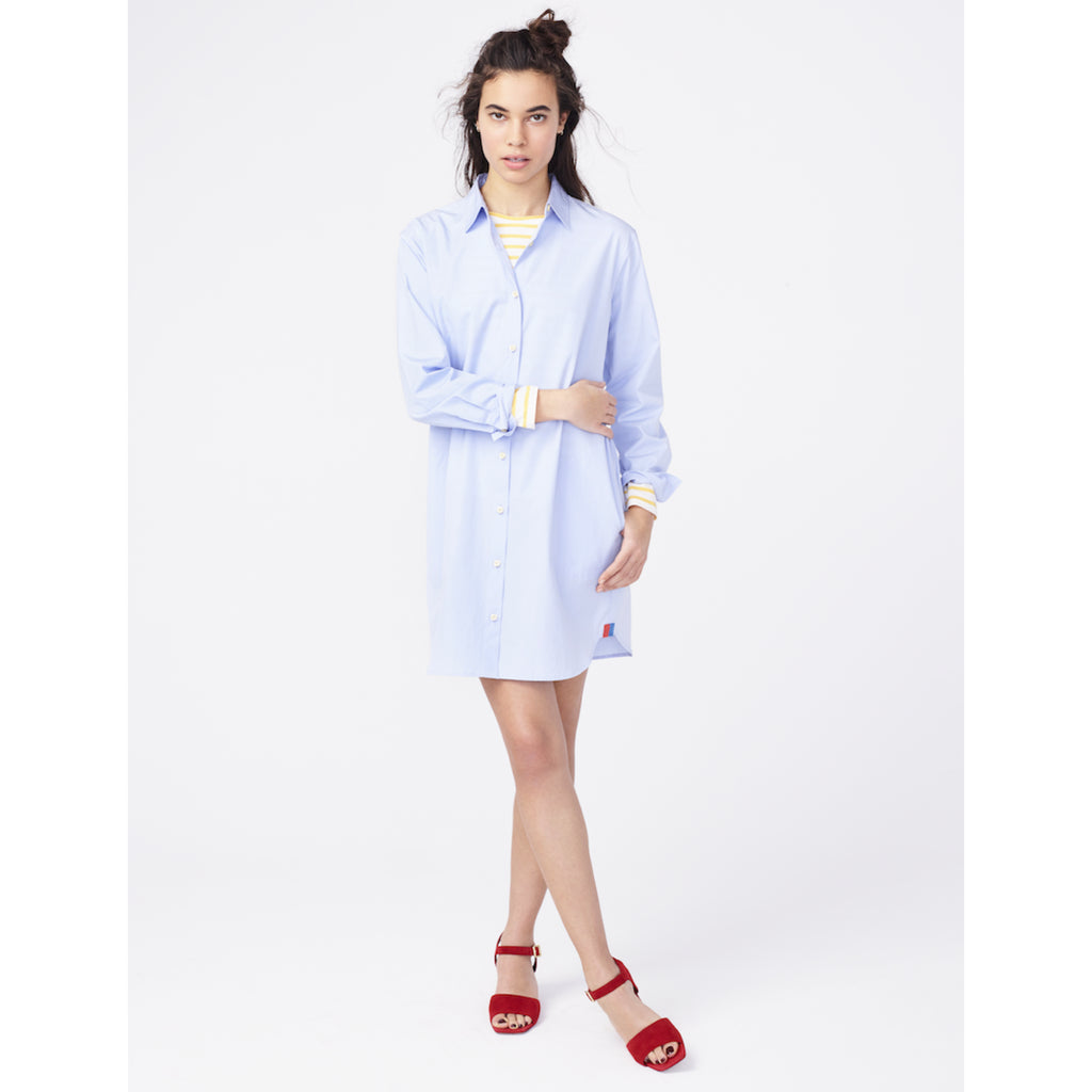 The Shirt Dress - Banker Blue on Model