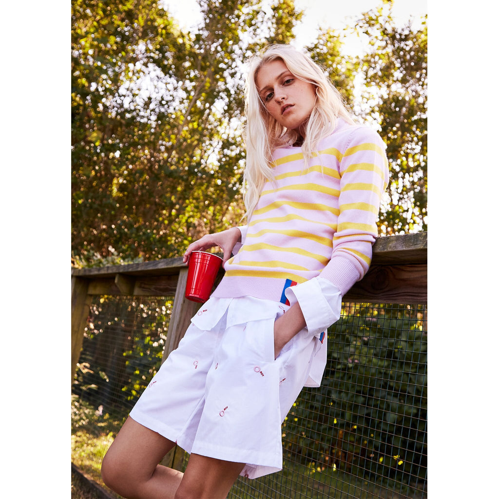 The Skate - shown on model in pink and yellow, paired with lavender shorts and a red solo cup :)