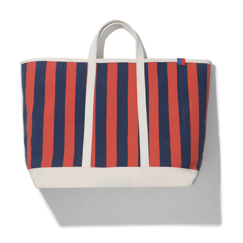The Stripe Tote - Poppy/Navy