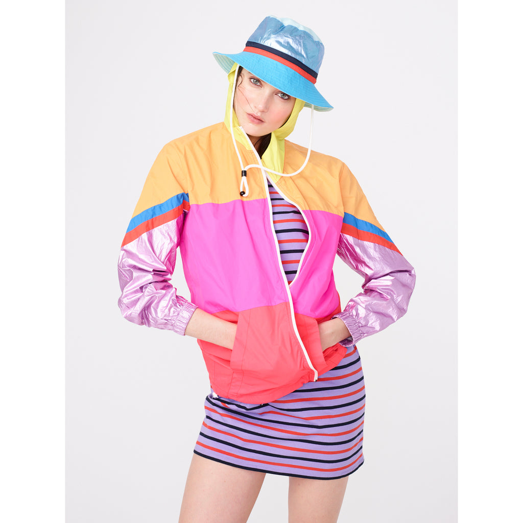 The Buck - Blue Flat, blue hat, metallic blue top, navy/poppy stripe band, shown on model with jacket