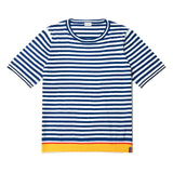 The Corinne - Navy/White Flat, navy short sleeve sweater with cream stripes and yellow hem