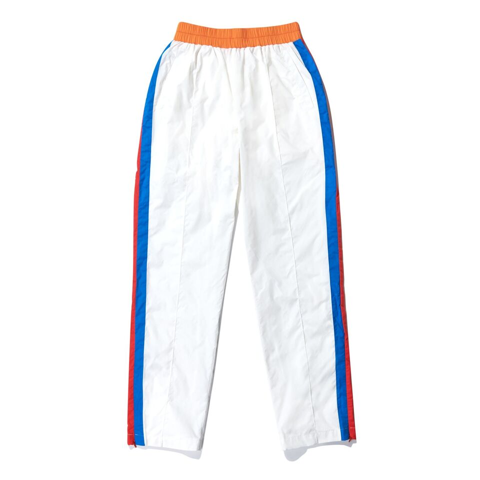 The Scottie - White, white pants with blue and red stripe on side with orange waist band