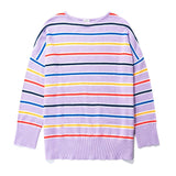 The Vandy - Lilac, lilac sweater with yellow, navy, blue and poppy horizontal stripes
