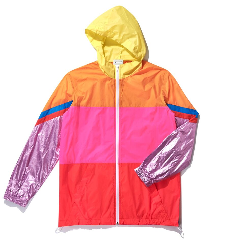The Popper - Pink Flat, pink, red, pink metallic, orange and yellow color block raincoat.