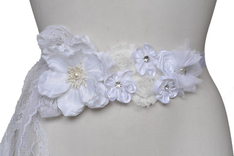 Maternity Sash Wedding | Winter White