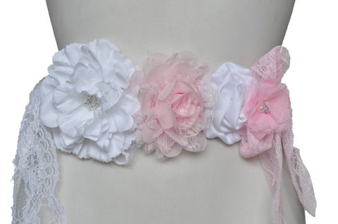 Pregnancy Sash | Pink & White Lace