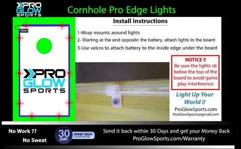 Pro Glow Sports Cornhole Edge Lights Install Instructions