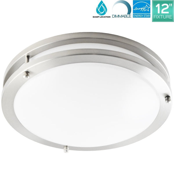 LEDQuant 12 Inch LED Flush Mount Ceiling Light 20W 3000K Soft White 1350 Lumens ENERGY STAR Dimmable Brushed Nickel Finish Damp Rated UL Listed