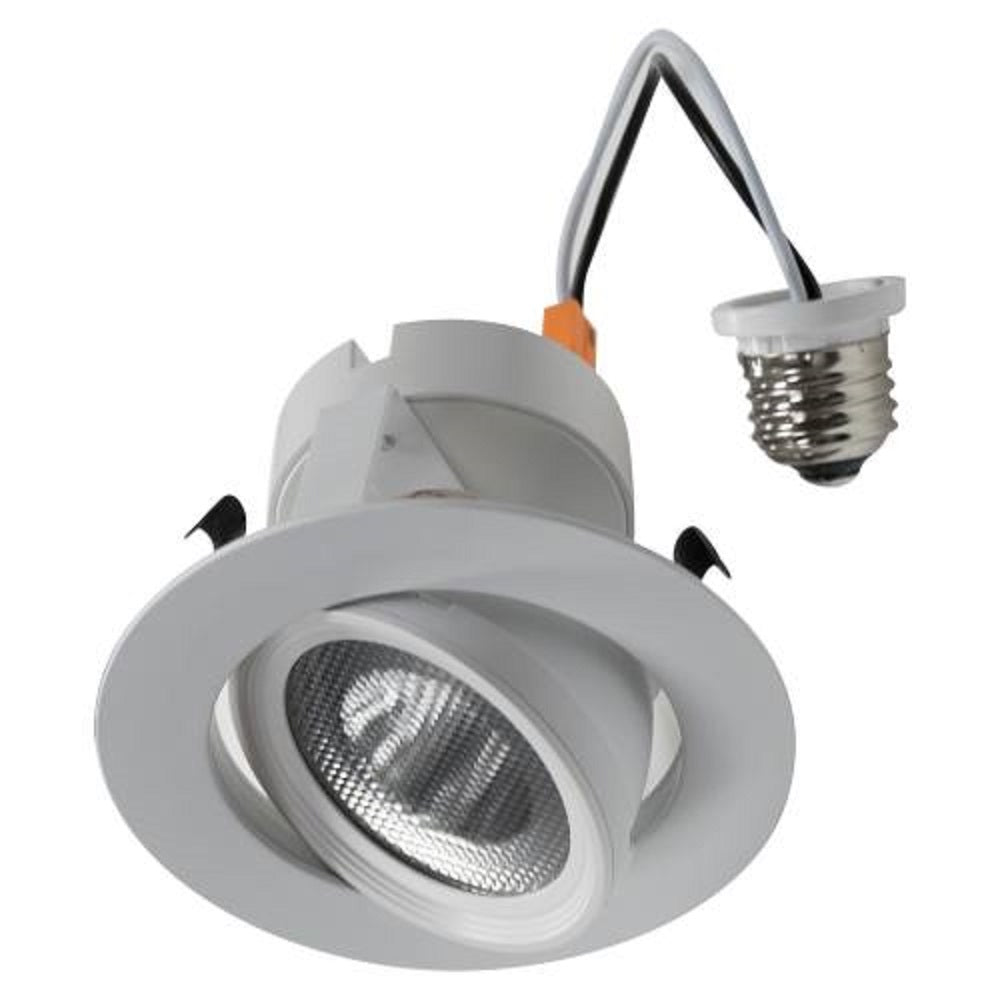 "10 Watt 4""-Inch Rotatable LED Retrofit Downlight Gimbal Dimmable, E26 Straight Wire Connection, Damp Location, ETL & Energy Star"