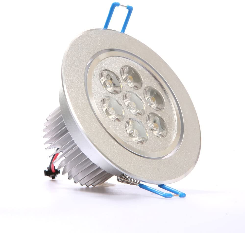7W LED Recessed Light w/Cable & Plug, Cool White 6000K
