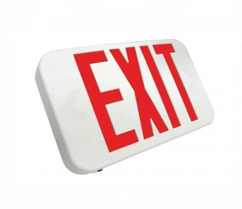 Compact LED Exit Sign, Emergency Light, Double Face, Red Letter, Battery Backup, UL