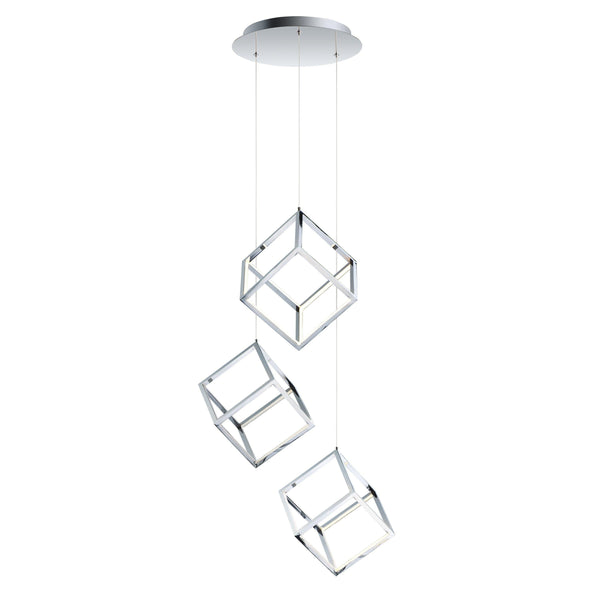 4 Square 3-Light LED Pendant