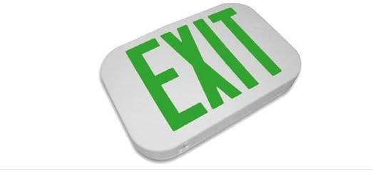 Compact LED Exit Sign, Emergency Light, Double Face, Green Letter, Battery Backup, UL