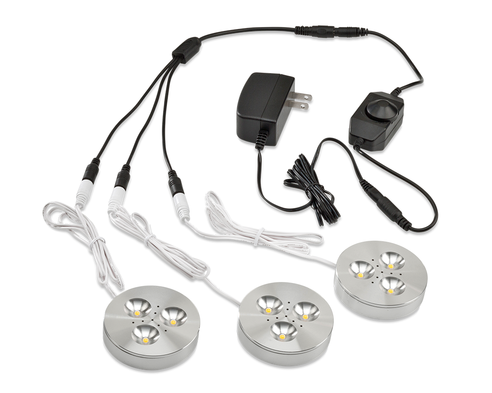 LEDQuant Set of 3 LED Dimmable Under Cabinet Lighting Kit - 3Watt LED Puck Lights