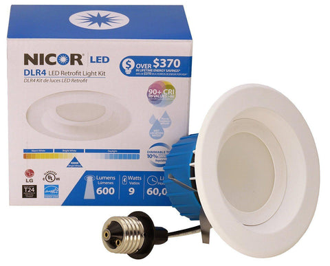 Nicor Lighting DLR4-27-120-3K-WH High Efficiency 3000K Dimmable Energy Star Approved Recessed Retrofit Kit with 4