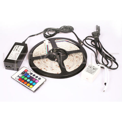 SMD 5050 60LED/M Led Flexible Strip RGB Color Changing 16.4FT/5M +IR Remote Led Controller +Power supply