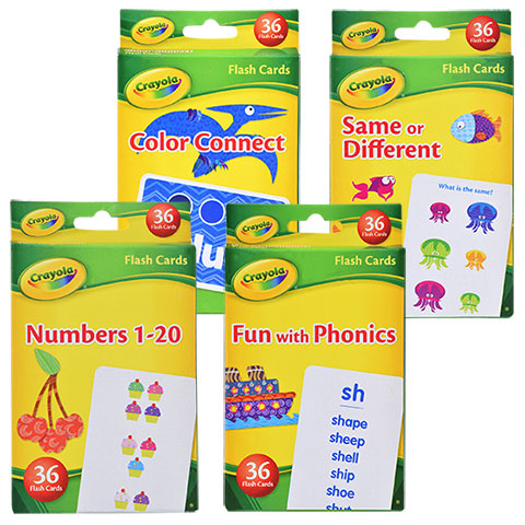 Crayola Early Learning Flash Cards Set - Same or Different, Color Connect, Numbers 1-20, Fun With Phonics