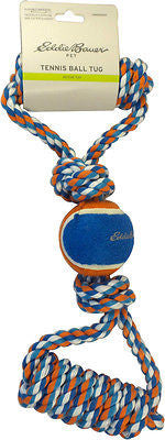 Eddie Bauer Rope Tennis Ball with Two Tug Handles  - Orange/Blue