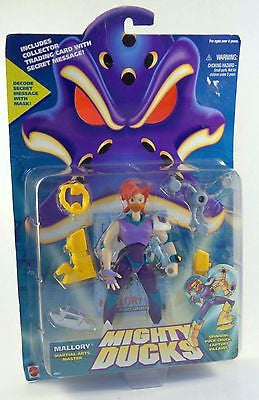 1996 Mattel Disney Mighty Ducks Mallory Action Figure with Spinning Puck Chucks