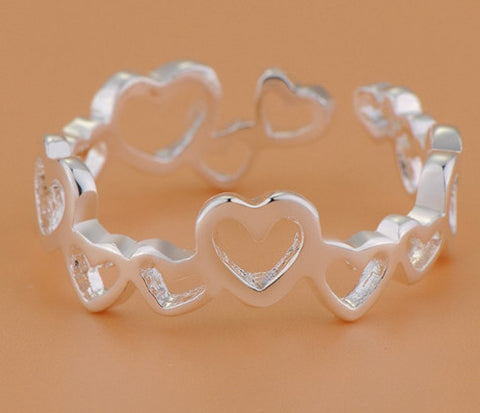 Womens One-size Mini Hearts Silver Fashion Ring