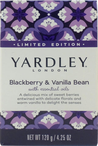 Yardley London 4.25 oz Moisturizing Bath Bar - Limited Edition Blackberry and Vanilla Bean