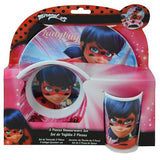 Miraculous Ladybug 3 Piece Dinnerware Set with Melamine Plate, Tumbler and Bowl