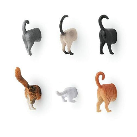 Kikkerland Cat Butt Magnets - Set of 6 Cat Tails for your Fridge