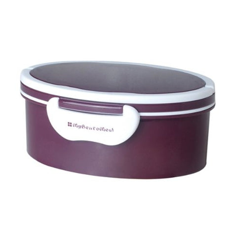Mulberry by Genmert Oval Bento Box with Handle - 3 Piece Lunch Box Set (Purple)