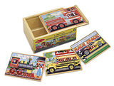 Melissa & Doug Vehicles 4-in-1 Wooden Jigsaw Puzzles in a Storage Box (48 pcs)