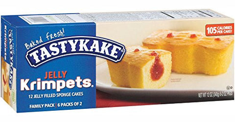 Tastykake Krimpets Jelly Filled Sponge Cakes, Family Pack of 12 Snack Cakes
