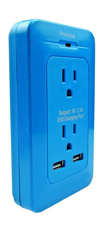 Xtreme Cables 2 Outlet Surge Wall Tap with Dual Port USB Computer Surge Protector