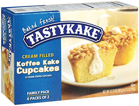 Tastykake Cream Filled Koffee Kake Cupcake Snacks, 12 Count, 12.75 oz Box