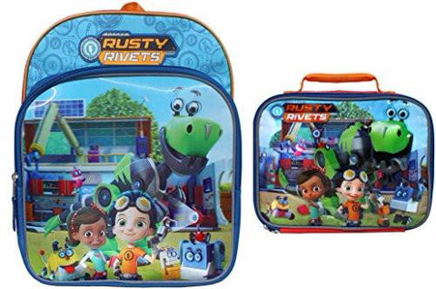 Rusty Rivets 14 inch Lenticular Backpack and Matching Insulated Lunch Box Set