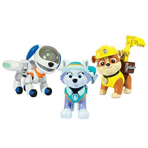 Paw Patrol Action Pup 3 Pack Figure Set: Everest, Robodog and Rubble