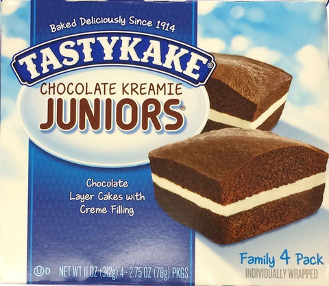 Tastykake Cream Filled Chocolate Kreamie Juniors Snack Cakes 11 oz 4 Cake Pack