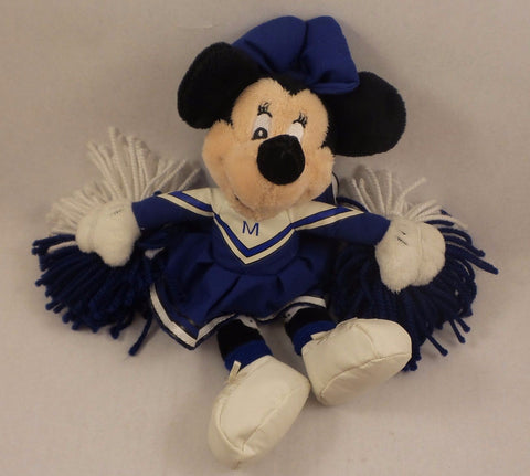 "Disney Minnie Mouse Blue Cheerleader Beanbag 9"" Stuffed Plush Toy Doll"