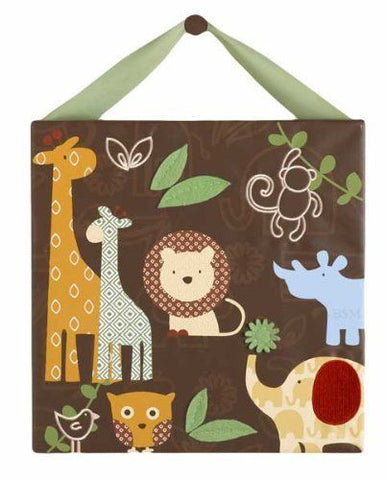 "Cocalo Baby Nursery Canvas Wall Art 14"" x 14"" - Noah and Friends Jungle Animals"