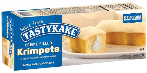 Tastykake Cream Filled Krimpets, Family Pack of 12 Iced Sponge Snack Cakes