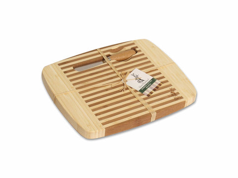 Island Bamboo CBPHC10K Laguna Cheese and Bread Board with Magnetic Cheese Spreader