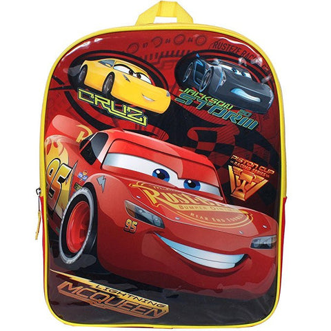 Disney Pixar Cars 3 Lightning McQueen Cruz Jackson Storm Speed Buddies 15 in. Backpack Bookbag