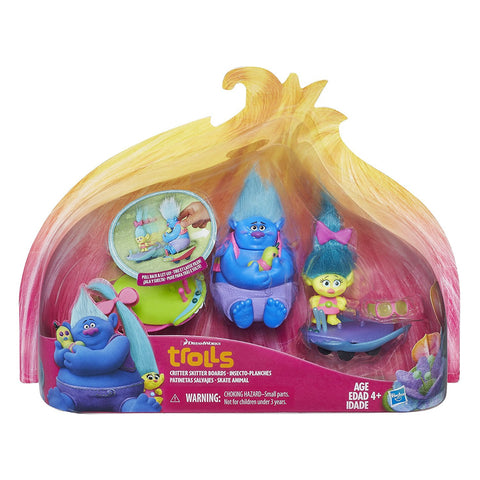DreamWorks Trolls Critter Skitter Boards with Smidge, Biggie, and Mr. Dinkles 3 in. figures