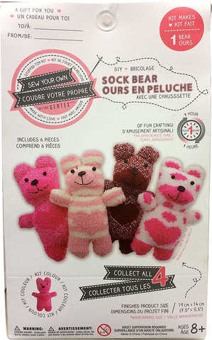 Sew Your Own DIY Sock Bear Sewing Crafts Kit - Dark Pink Hearts Stripes Bear