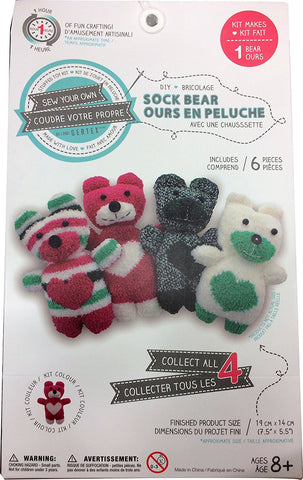 Sew Your Own DIY Sock Bear Sewing Crafts Kit - Red/White Bear
