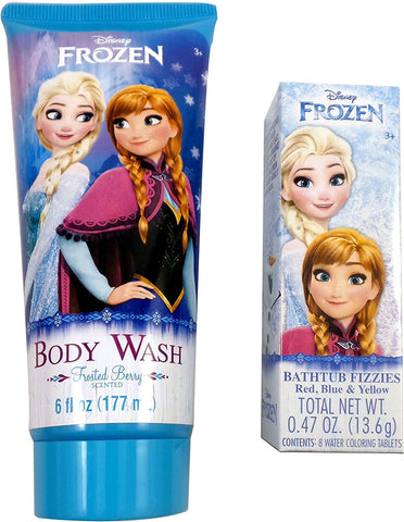 Disney Frozen Bath Bundle: 6 fl oz Frosted Berry Scented Body Wash and 8 Bathtub Fizzies