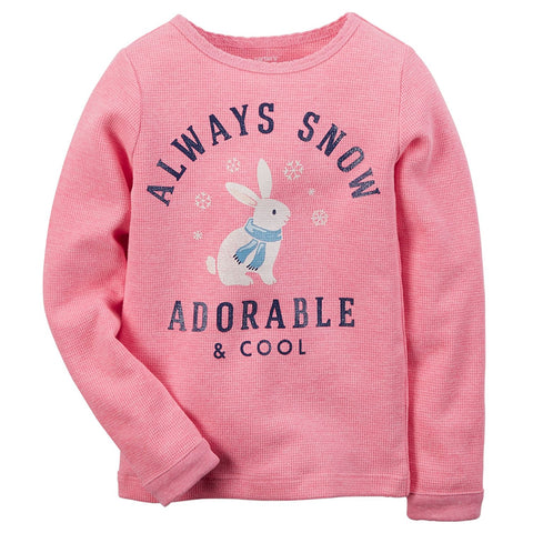 "Carter's Girl Long Sleeve ""Always Snow Adorable & Cool"" Pink - Size 6"